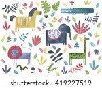 safari animals watercolor... | Shutterstock . vector #419227519