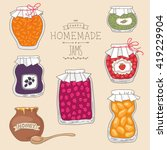 set of tasty home made jams in... | Shutterstock .eps vector #419229904