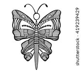 black and white butterfly in... | Shutterstock .eps vector #419239429