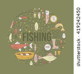 different fishing elements... | Shutterstock .eps vector #419242450