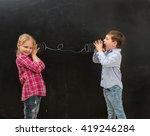 two funny shoolchildren talking ... | Shutterstock . vector #419246284
