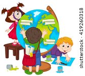 children make globe   vector... | Shutterstock .eps vector #419260318