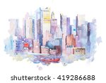 watercolor drawing of new york...   Shutterstock . vector #419286688