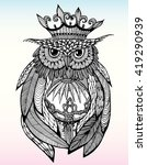 Owl With A Crown. Portrait Of...