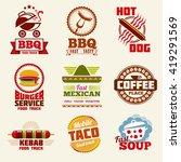 fast food vector logo  emblems  ... | Shutterstock .eps vector #419291569