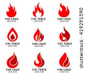 vector logo set with fire... | Shutterstock .eps vector #419291590