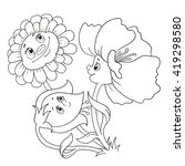 cartoon characters flowers.... | Shutterstock .eps vector #419298580