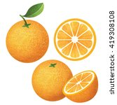 set of fresh ripe oranges with... | Shutterstock . vector #419308108