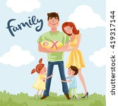 happy father's day postcard  ... | Shutterstock .eps vector #419317144