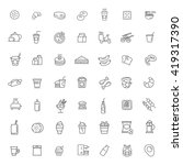 fast food vector outline icons... | Shutterstock .eps vector #419317390