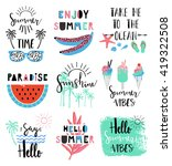 Summer lettering Scandinavian set with holiday Summer Elements. Watermelon, ice cream, palm, tropic, sun. Summer Typographic. Vector illustration. | Shutterstock vector #419322508