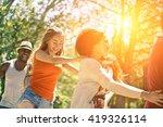 multiracial friends dancing in... | Shutterstock . vector #419326114