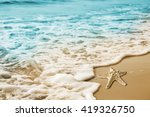 starfish and soft wave on the... | Shutterstock . vector #419326750