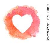 pink watercolor painted heart... | Shutterstock .eps vector #419334850