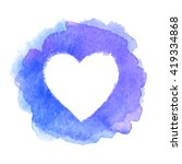 blue watercolor painted heart... | Shutterstock .eps vector #419334868