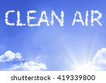 Small photo of Clean Air cloud word with a blue sky