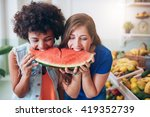 two young woman eating... | Shutterstock . vector #419352739