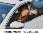 attractive young brunette woman ... | Shutterstock . vector #419353006