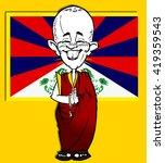 caricature of tibetan monk with ...   Shutterstock . vector #419359543