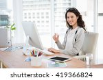 a business woman is working in... | Shutterstock . vector #419366824