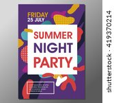summer night party vector flyer ... | Shutterstock .eps vector #419370214