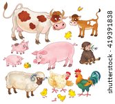 at the farm. small set of cute... | Shutterstock . vector #419391838