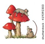 Cute Mice And Toadstools ...