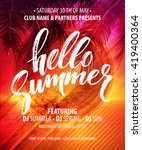 vector summer party poster... | Shutterstock .eps vector #419400364