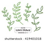 hand drawn branches with leaves ... | Shutterstock .eps vector #419401018