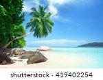 beach on mahe island in...   Shutterstock . vector #419402254