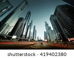 sheikh zayed road in sunset... | Shutterstock . vector #419402380