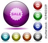 set of color sale badge glass...
