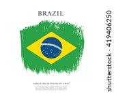 brazilian flag made in brush... | Shutterstock .eps vector #419406250