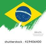 brazilian flag made in brush... | Shutterstock .eps vector #419406400
