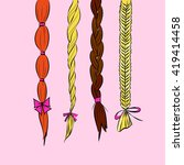 cartoon hair braids thin line... | Shutterstock .eps vector #419414458