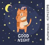 Good Night Card With A Cute...