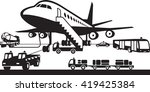 airport support vehicles  ... | Shutterstock .eps vector #419425384