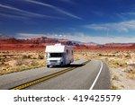 traveling by motorhome ... | Shutterstock . vector #419425579