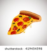 slice of cheesy pepperoni pizza ... | Shutterstock .eps vector #419454598