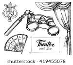 theater set. vector sketch.... | Shutterstock .eps vector #419455078
