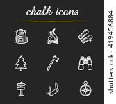 camping icons set. backpack ... | Shutterstock .eps vector #419456884
