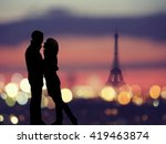 Silhouette Of Romantic Lovers...