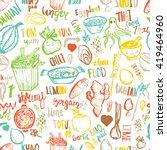 thai food seamless hand drawn...   Shutterstock .eps vector #419464960