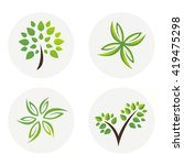 collection of green eco... | Shutterstock .eps vector #419475298