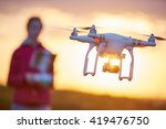 girl piloted copter drone... | Shutterstock . vector #419476750