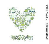 mushrooms. herbal elements in... | Shutterstock .eps vector #419477566