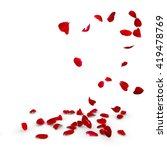 Stock photo rose petals fall to the floor isolated background 419478769