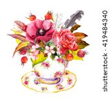Boho Chic Tea Cup Design With...