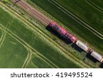 aerial view of the train on the ...   Shutterstock . vector #419495524