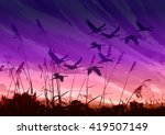 landscape sunset lake with... | Shutterstock . vector #419507149